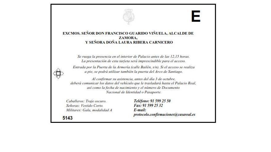 Invitación de la Casa Real a la recepción del 12 de octubre
