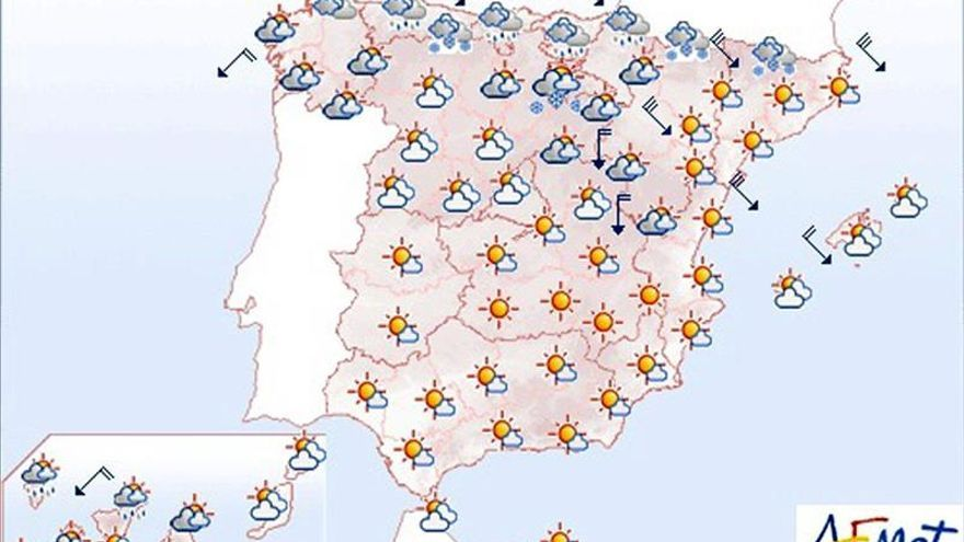 Hoy, temperaturas en ascenso en el Mediterráneo y en descenso en el norte