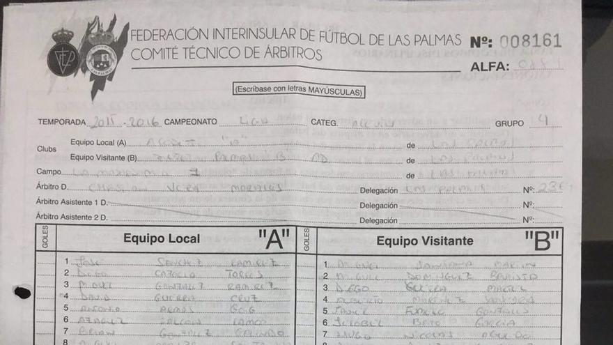Acta de la jornada 28 del Grupo IV de la Liga de Alevines en donde el árbitro da la victoria por 1 a 7 por error al 7 Palmas, en lugar de al Acodetti, que había ganado ese encuentro.
