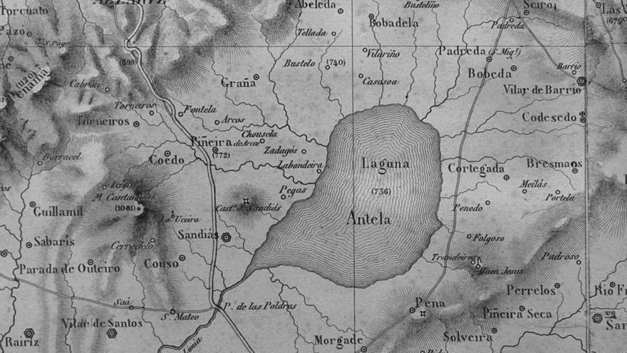 La Laguna de Antela, en la 'Carta Geométrica' de Domingo Fontán (1834) el primer mapa moderno realizado en España