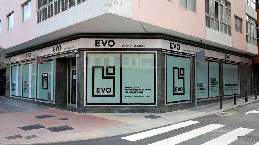 Oficina de EVO Banco en la calle Franchy Roca, en Las Palmas de Gran Canaria.