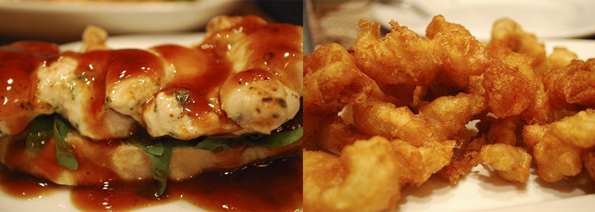 Díptico brocheta de pollo teriyaki y calamares de potera rebozados_Malasaña a mordiscos_El Mandil