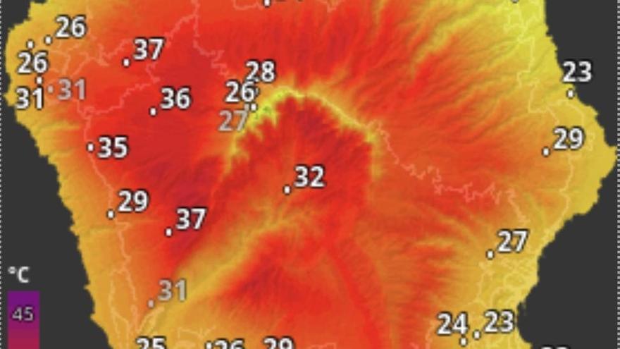 El mercurio roza los 40 grados este martes en La Palma