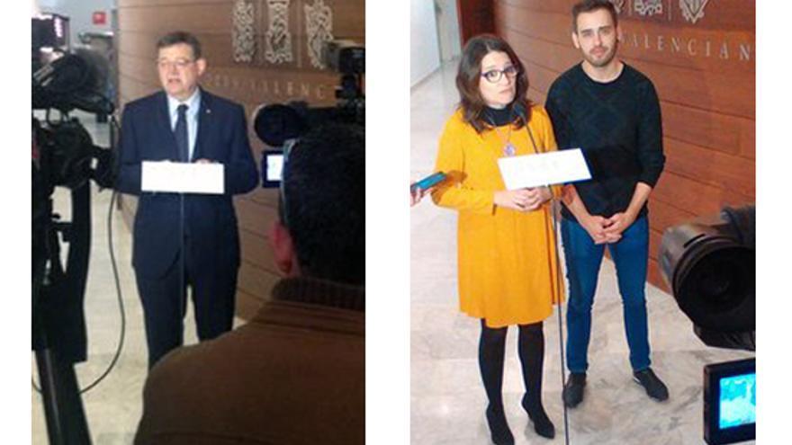 El president, Ximo Puig, y la vicepresidenta, Mónica Oltra, atienden a los medios en las Corts
