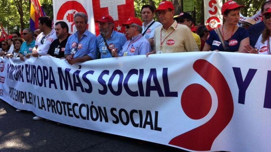 Cabecera de la marcha de Madrid / @CumbreSocialS