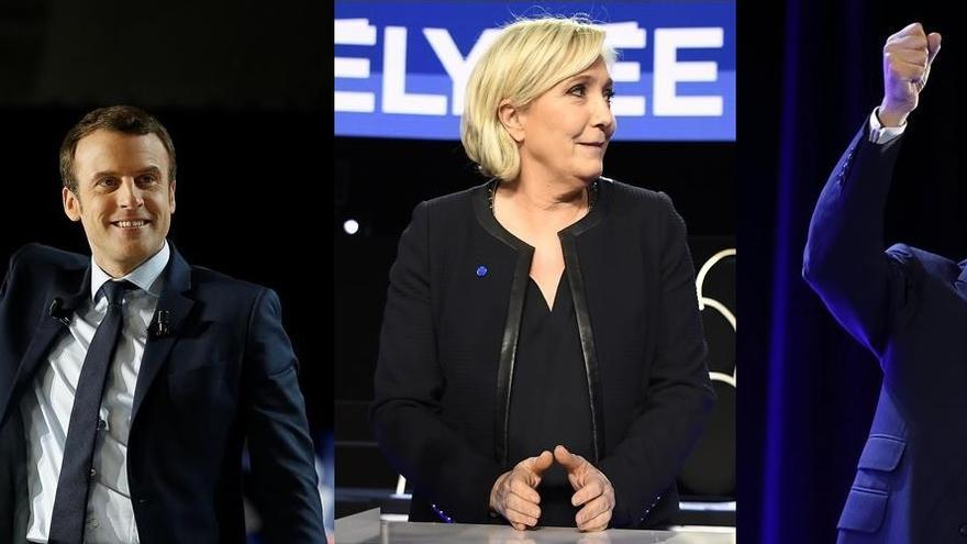 Emmanuel Macron, Marine Le Pen y François Fillon son los principales candidatos