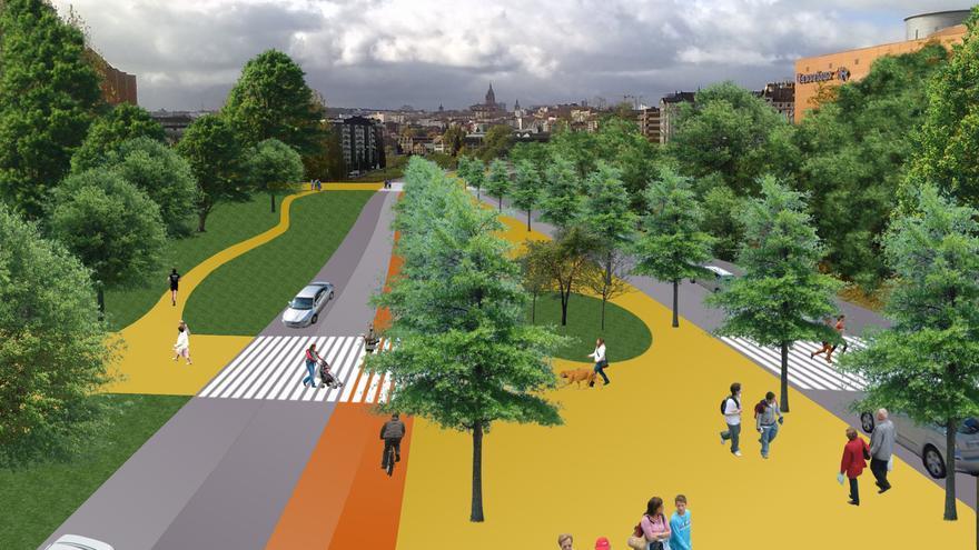 La propuesta vecinal incluye carriles bici y un paseo central peatonal y arbolado. / Imagina un Bulevar