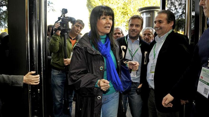 Micaela Navarro, a la entrada de un acto político en Madrid.