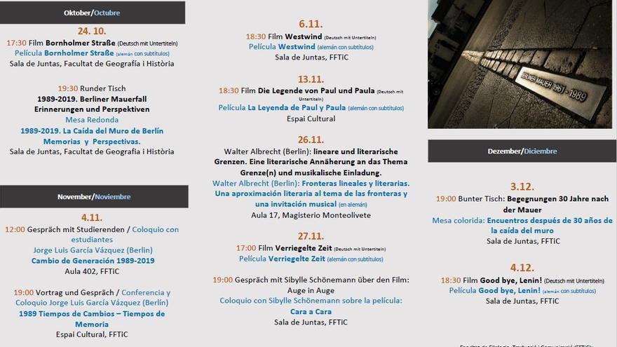 El programa de las jornadas que se celebran en la Universitat de València.