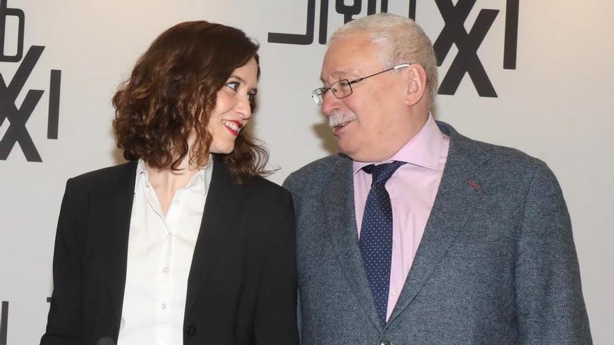 Isabel Díaz Ayuso y Joaquín Leguina, en el desayuno organizado por Siglo XXI. / PP