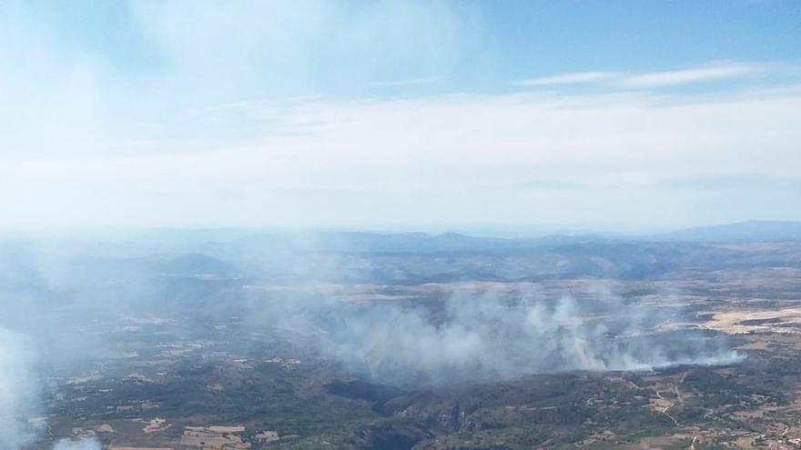 Los dos incendios que se han declarado en Saldeana (Salamanca)
