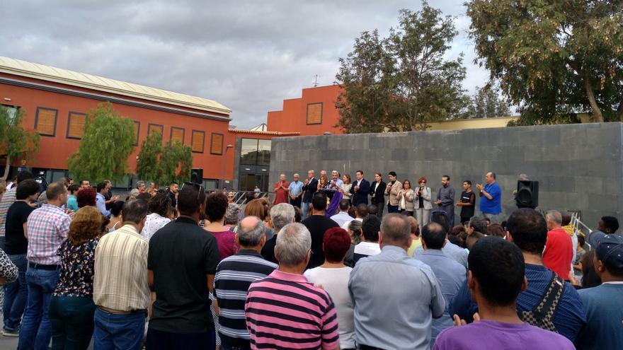 Concentración celebrada este jueves en el barrio El Fraile, en Arona