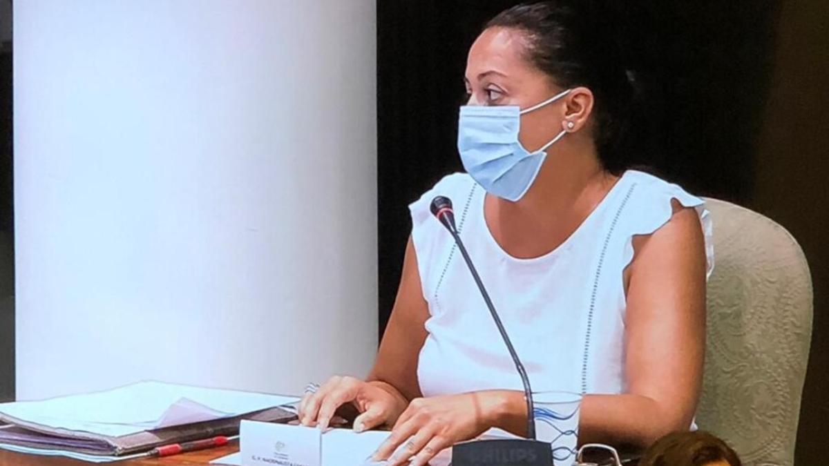 Nereida Calero (CC) en la comisión parlamentaria sobre la situación del turismo en Canarias.