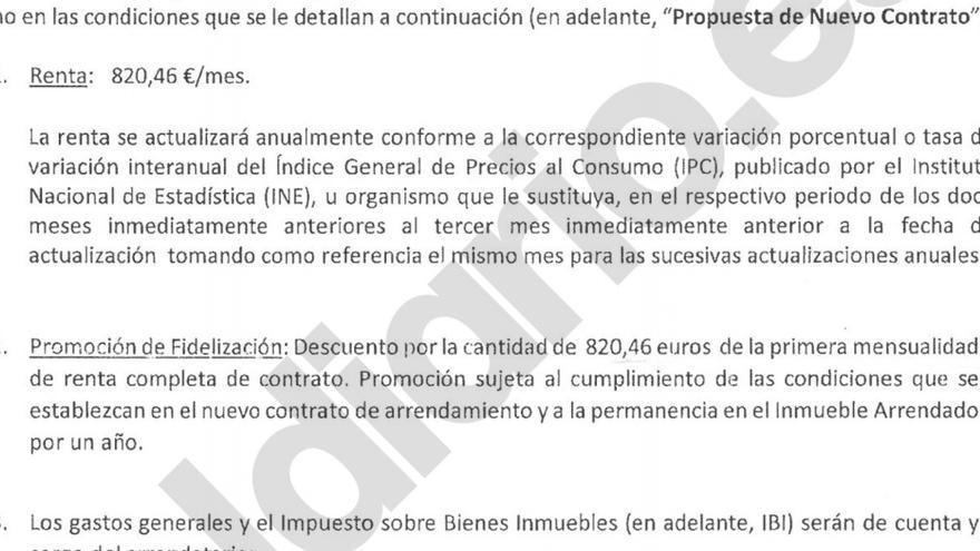Modelo de contrato que impone Fidere (Blackstone) a sus inquilinos, al que ha accedido eldiario.es.