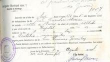 Certificado de defunción de Juan González, donde consta por error que era soldado y soltero