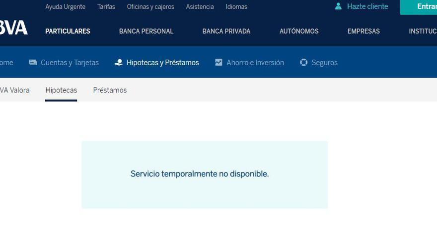 Web de hipotecas de BBVA, fuera de servicio.