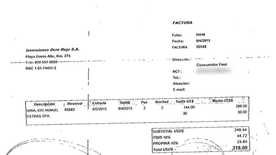 Factura aportada por Soria como justificante de pago de sus vacaciones en Punta Cana
