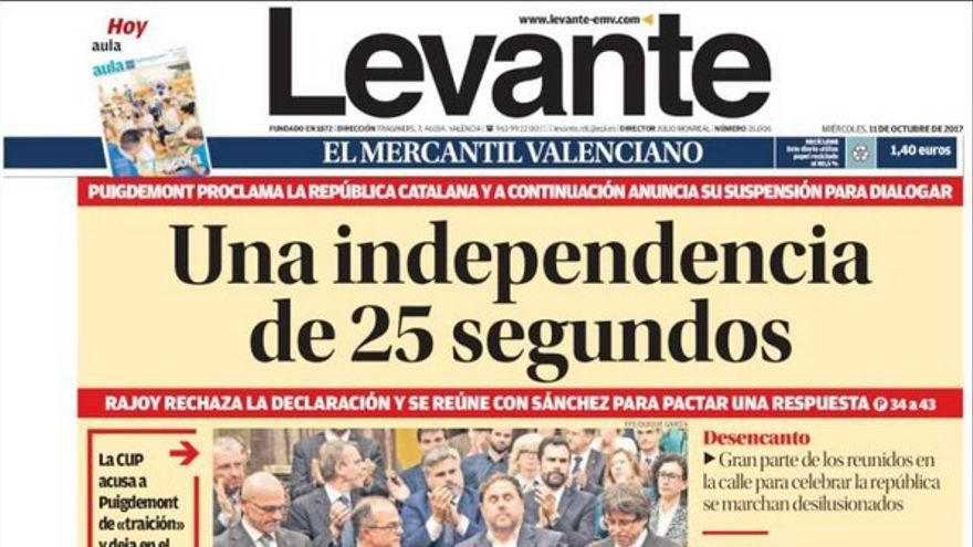 Las portadas del 11 de octubre as cuenta la prensa c mo puigdemont suspendi la declaraci n de - Periodico levante el mercantil valenciano ...