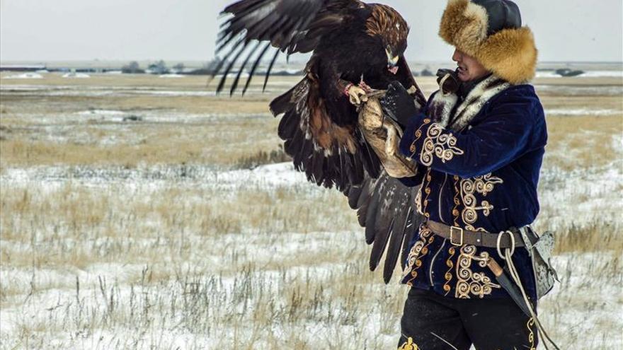 Águilas reales sobrevuelan la estepa kazaja de manos de sus cetreros