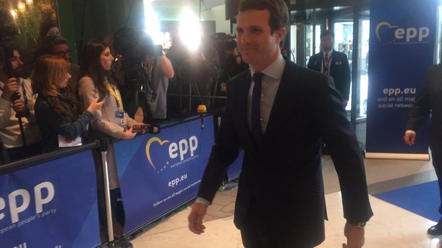 Pablo Casado, a su llegada a Bruselas a una reunión del PPE, el 28 de mayo de 2019.