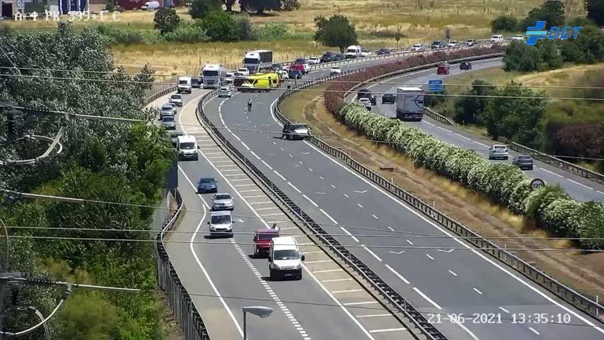 Autovía cortada a causa del accidente