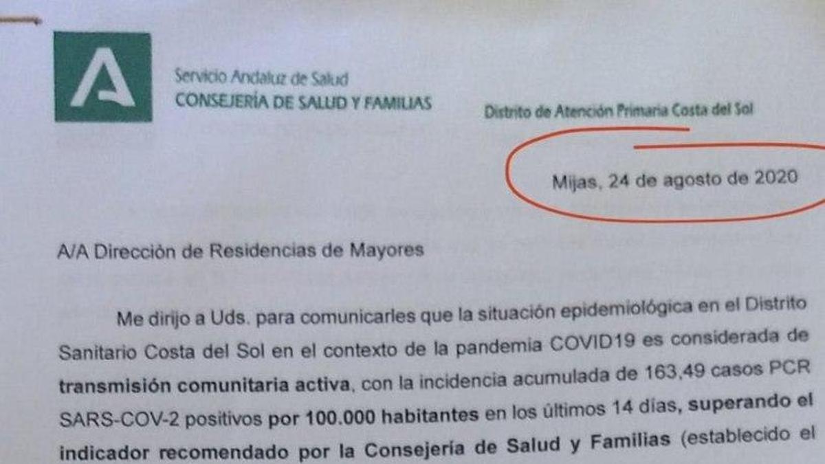 Documento de la Consejería de Salud andaluza del 24 de agosto.