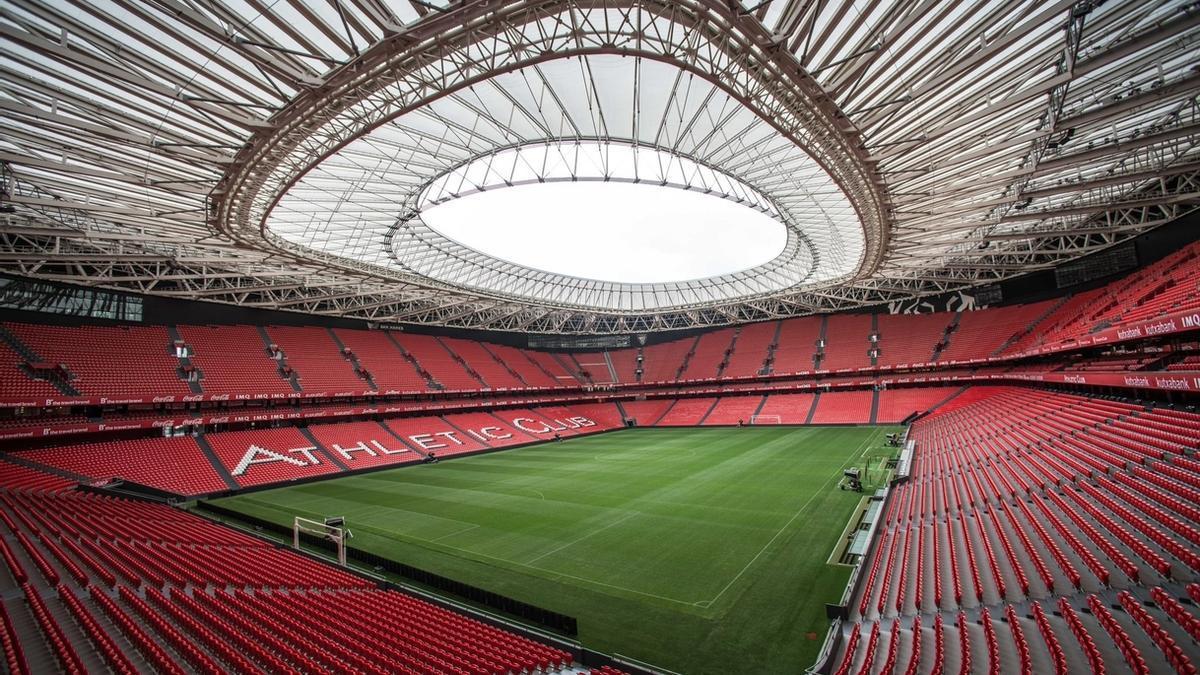 El estadio de San Mamés, vacío
