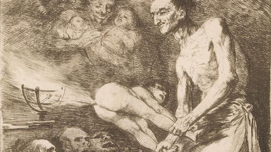 Grabado 'Sopla' de la serie 'Caprichos' en la que Goya criticaba la censura de la Iglesia