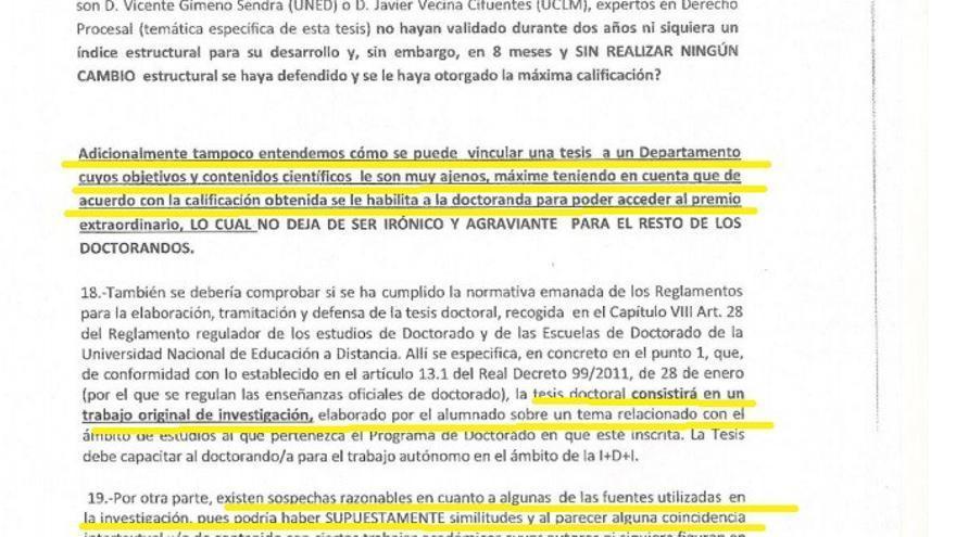 Denuncia alumno doctorado UNED Albacete