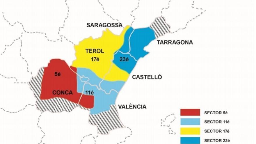 Implantación territorial y división por sectores del AGLA. Imagen cedida por Raül González Devís.