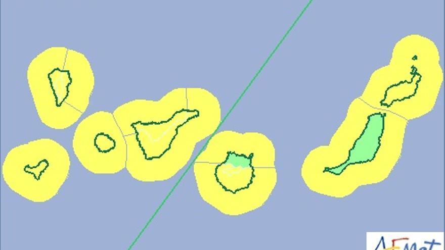 Mapa de la Aemet de aviso amarillo para este martes por riesgo meteorológico por viento y fenómno costero.