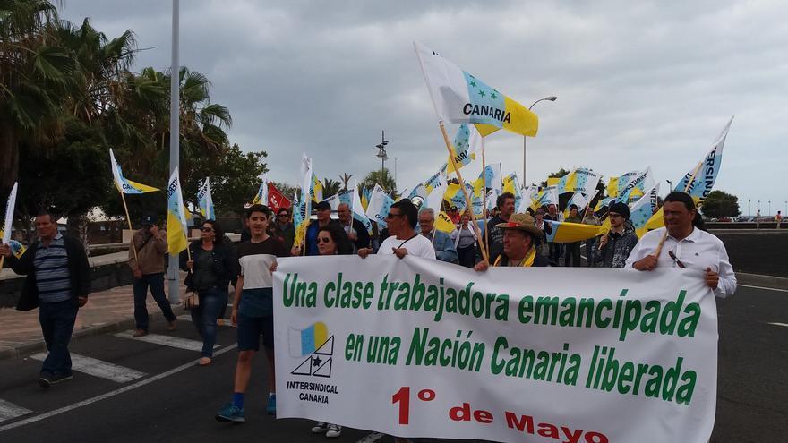 Manifestación de Intersindical Canaria el Primero de Mayo en Arrecife