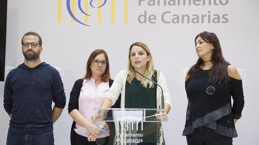 La portavoz de Podemos en el Parlamento de Canarias, Noemí Santana (2d), acompañada por los diputados de su grupo parlamentario, Juan José Márquez (i), Natividad Arnaiz (2i) y María del Río Sánchez (d).