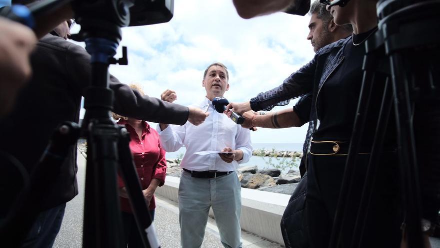 José Manuel Bermúdez, candidato a la reelección de CC, este jueves en su rueda de prensa