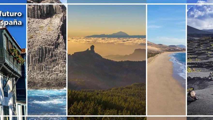 El fondo que utilizó el PP de Canarias para el mitin de Casado: igual preponderancia a Gran Canaria y Tenerife, y presencia de todas las islas, incluida La Graciosa.