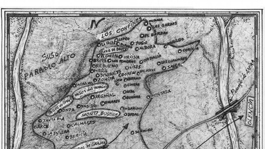 Mapa de Celama, territorio creado por Luis Mateo Díez