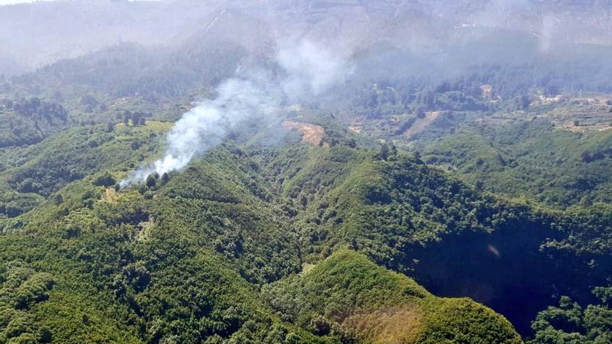 Zona donde se localiza el conato de incendio en Garafía.