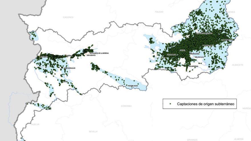 Captaciones de agua subterránea en la Demarcación del Guadiana / CHG.
