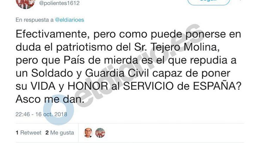 Tuit de Daniel Rodríguez sobre Tejero.