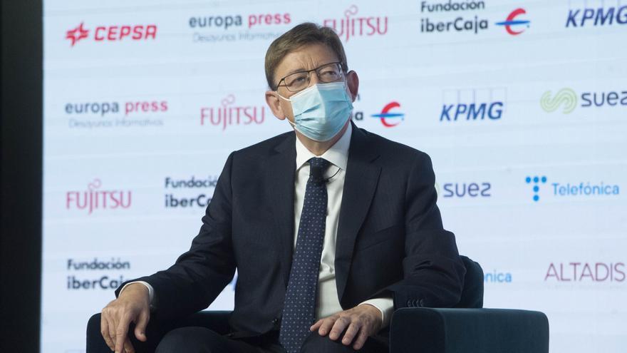 El presidente de la Generalitat valenciana, Ximo Puig, protagoniza un Desayuno Informativo de Europa Press en el Auditorio El Beatriz Madrid, a 21 de julio de 2021, en Madrid (España).