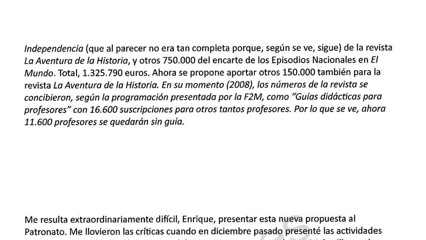 Correo remitido por el entonces director de la Fundación Caja Madrid, Rafael Spottorno, a Miguel Blesa, expresidente de Caja Madrid.