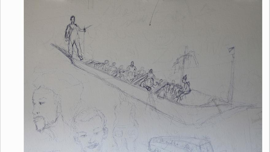 Un dibujo de un cayuco encontrado en una celda del CIE El Matorral.