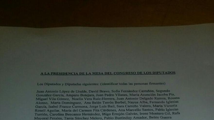 Registro presentado ante la Mesa del Congreso del grupo Podemos-En Comú Podem-En Marea.