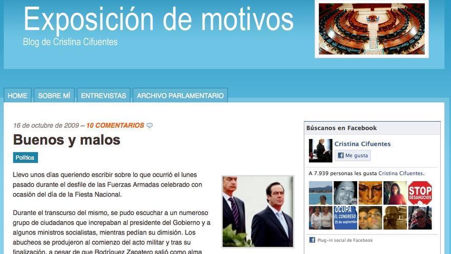 Captura de pantalla del post de Cristina Cifuentes en 2009