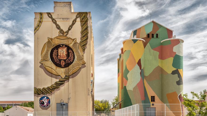 Obra de Daniel Muñoz y Spok Brillor en un silo de Ciudad Real FOTO: Rivera & Donas