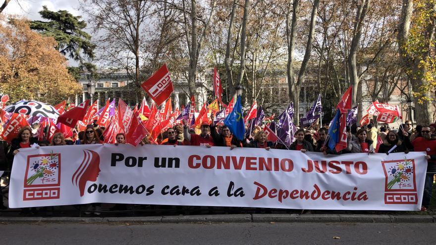 Movilización de las trabajadoras de la dependencia el pasado 14 de diciembre en Madrid.