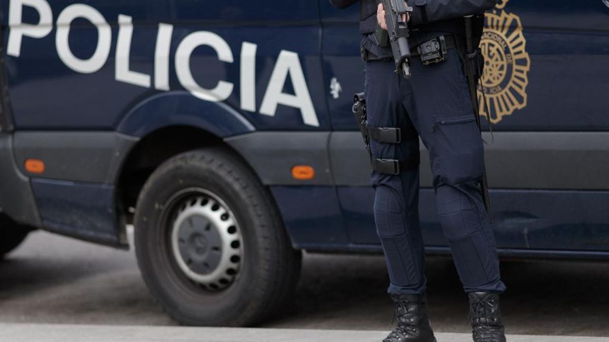 Un agente de la Policía Nacional ante un vehículo del Cuerpo.