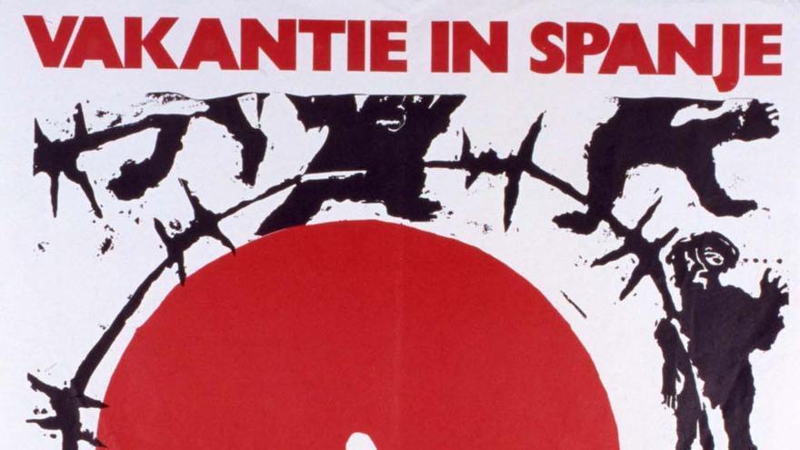 Vacaciones en España. Para usted el sol. Para ellos la cárcel (cartel. CDM. Fundación 1º de Mayo).