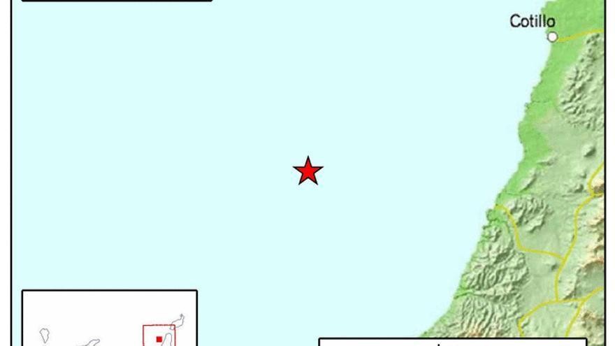El Instituto Geográfico Nacional (IGN) ha registrado esta madrugada un seísmo de magnitud 3,3 en la escala de Richter frente a la costa de El Cotillo.