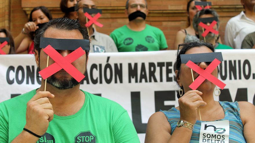 Protesta contra la 'ley mordaza'. / J.M.B.
